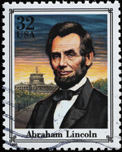 Abraham Lincoln Portrait On American Postage Stamp
