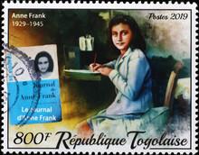Anne Frank Portrait On Stamp Of Togo
