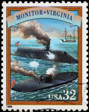 Battleship Of Hampton Roads On American Postage Stamp