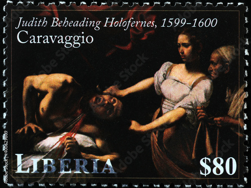 Fotografie, Tablou Judith beheading Holofernes by Caravaggio on postage stamp