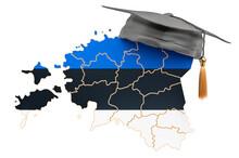Education In Estonia Concept. Estonian Map With Graduate Cap, 3D Rendering
