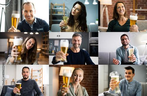 Fotografía Woman Drinking Beverage Beer In Video Conference
