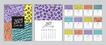 Calendar 2021 Template Vector, Set Desk Calendar 2021, Wall Calendar 2021 Design, Planner 2021, Week Start On Sunday, Vertical Layout, Set Of 12 Months, Cover Design Memphis Style, Vector Illustration