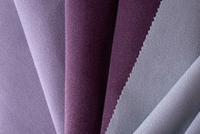 Light Lilac And Pink Colors Velour Textile Samples.. Fabric Texture Background