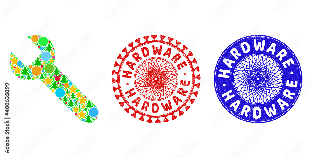 Fototapeta Wrench mosaic of New Year symbols, such as stars, fir-trees, color circles, and HARDWARE rubber stamp seals. Vector HARDWARE stamp seals uses guilloche pattern, designed in red and blue versions.