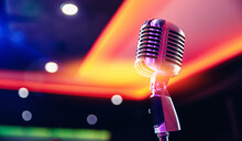 Close-up Retro Vintage Microphone On Blurred Stand Up Background, Concert In Nightclub