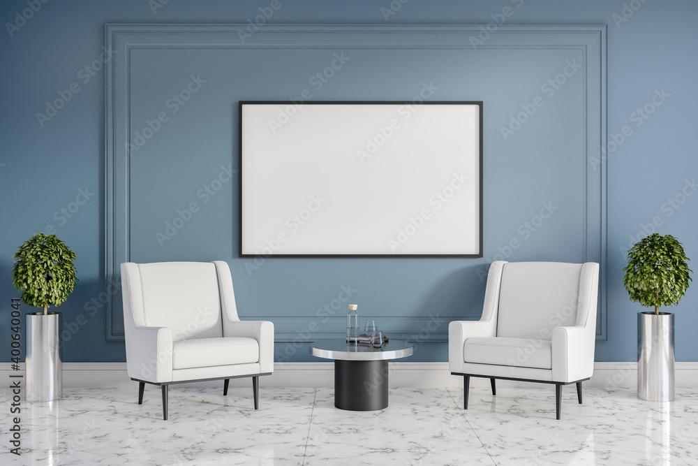 Fototapeta Modern waiting interior with blank poster