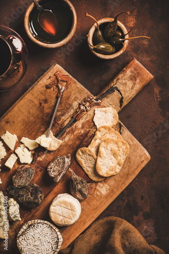 Assortment of snacks and appetizers for red wine concept Fotobehang
