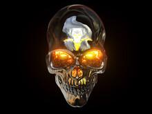 Heavy Metal Skull With Orange Glowing Eyes