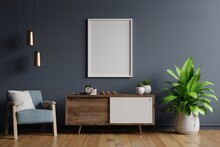 Poster Mockup With Vertical Frames On Empty Dark Wall In Living Room Interior With Blue Velvet Armchair.