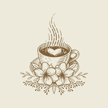 Cup Of Coffee Latte With Flower Ornament. Vintage Ink Sketch Drawing Technique. Vector And Illustration.