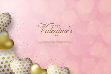 Valentine Day Background With Two Gold Love Balloons In The Lower Left Corner