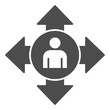 Human Avatar and Arrows solid icon, social distancing concept, social communication sign on white background, person in circle with arrows outward in glyph style. Vector graphics.