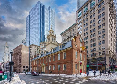 Fototapeta Boston Old state house at winter day