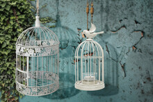 Two Vintage White Empty Bird Cages On A Blurred Broken Wall Background