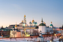 Russia's Golden Ring. Sergiev Posad In Winter At Sunset. The Holy Trinity-St. Sergius Lavra.