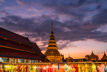 Lantern Festival At Wat Phra That Hariphunchai