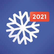 2021 Snowflakes Symbol, In Social Networking (Facebook Etc.) Design. Abstract New Two Thousand Twenty One Year Concept.