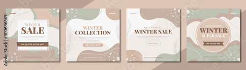 Obraz Set of winter fashion sale social media banner template. Winter sale post design for digital marketing & promotion. Web flyer, poster & cover design with brand logo & abstract graphic.  - fototapety do salonu