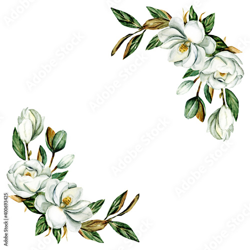 Fototapeta Wreath with watercolor flowers magnolia, floral frame for greeting card, invitation and other printing design. Isolated on white. Hand drawing. obraz