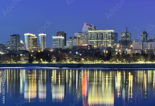 Canvas Print Embankment in Novosibirsk at night