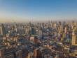 Aerial view of the skyline in Puxi, Shanghai, at sunrise.