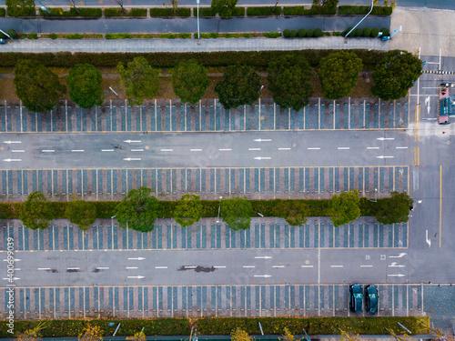 Fototapeta Aerial view of a parking lot. obraz na płótnie