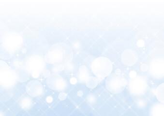 クロスフィルター風の輝き 白い玉ボケ 背景素材(水色)