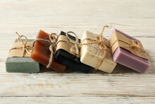 Pieces Of Natural Handmade Soap On Wooden Background