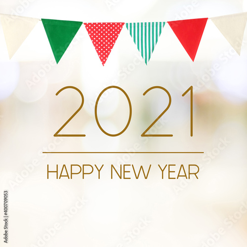 Fototapeta Happy New Year 2021 on blur abstract bokeh background, new year greeting card, banner obraz