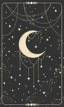 Tarot Card With Hand And Planet. Magic Card, Boho Design, Tattoo, Engraving, Cover For The Witch. Golden Mystical Hand Drawing On A Black Background With Stars