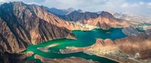 Hatta Dam Lake In Eastern Region Of Dubai, United Arab Emirates Aerial Panorama