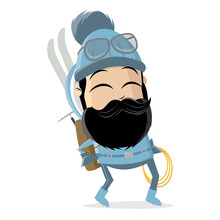 Funny Asian Cartoon Tourer Or Climber