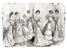 Women Wearing Vintage Festive Clothing Fashion Magazine France Paris