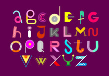 Abstract Decorative Font, Vector  Design. Colored Abstract Font Design Isolated On A Purple Background. Alphabet Letters Formed By Geometric Shapes.