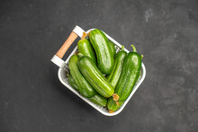 Top View Fresh Green Cucumbers Inside Basket On Dark Background Salad Meal Food Health Color Photo