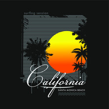 Vector Illustration On The Theme Of Surfing  In California, Santa Monica Beach. Surf Session,grunge Style,Vintage Design. Sport Typography, T-shirt Graphics, Print, Poster, Banner, Flyer, Postcard