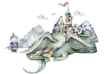 Boy Knight And Green Dragon Around Mountain And Castle. Adventure Kid Cartoon Hand Drawn Kid Illustration On White Background