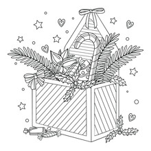 Holiday Gift Box With Candies, Tree Branches, Poinsettia. Coloring Book Page For Adult With Doodle And Pattern Elements. Vector Outline Illustration Design Concept. Winter Present.