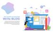 Vector illustration concept of blogging, landing page