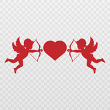 Vector angel with an arrow of love. Arrow of love png. Love angel png. Cupid, Cherub. Angel for Valentine's Day. Isolated background. Vector image.