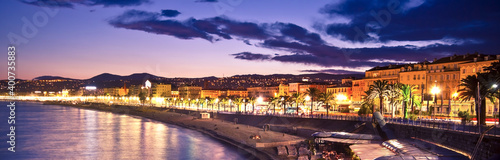 Obraz The beach and the waterfront of Nice at night, France. - fototapety do salonu