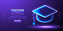 Education Cap, Low Poly Wireframe Vector Illustration