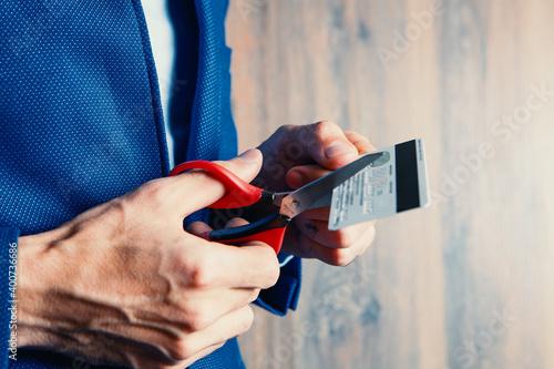 Billede på lærred no debt - credit card - scissors