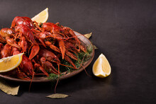 Crayfish Boiled On A Dish With Dill Spices And Lemon.