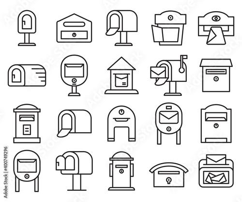 Valokuvatapetti mailbox and postbox icons set line design vector