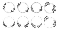 Set Of Laurel Wreath Design Elements. Black Circle Border Vector Ornaments. Wreath Decoration With Leaves. Vector Illustration.リーフデザイン、グリーンリースイラスト、リースイラスト