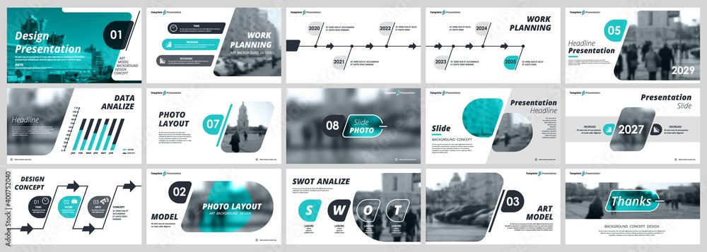 Fototapeta Abstract white, green slides. Brochure cover design. Fancy info banner frame. Creative set of infographic elements. Urban. Title sheet model set. Modern vector. Presentation templates, corporate.