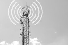 Concept Of The Negative Impact Of New 5g Technology On Humans. Gray Cellular Base Station