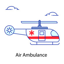 Air Medical Service, Flat Outline Vector Of Air Ambulance